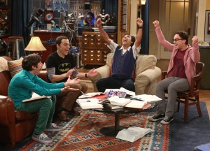 """The Junior Professor Solution"" -- When Sheldon is forced to teach a class, Howard surprises everyone by taking it, on THE BIG BANG THEORY, Monday, Sept. 22, 2014 (8:30-9:00 PM, ET/PT), on the CBS Television Network. Pictured left to right: Simon Helberg, Jim Parsons, Kunal Nayyar and Johnny Galecki Photo: Michael Ansell/CBS ©2014 CBS Broadcasting, Inc. All Rights Reserved"