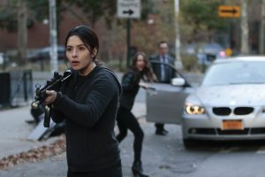"""""""The Day the World Went Away"""" -- Finch's number comes up when a fatal error blows his cover identity and sets off a deadly series of escalating encounters with Samaritan's operatives, on the 100th episode of PERSON OF INTEREST, Tuesday, May 31 (10:00 – 11:00 PM ET/PT) on the CBS Television Network. Pictured L-R: Sarah Shahi as Sameen Shaw, Amy Acker as Root, and Michael Emerson as Harold Finch Photo: Giovanni Rufino/Warner Bros. Entertainment Inc. ©2016 WBEI. All rights reserved."""